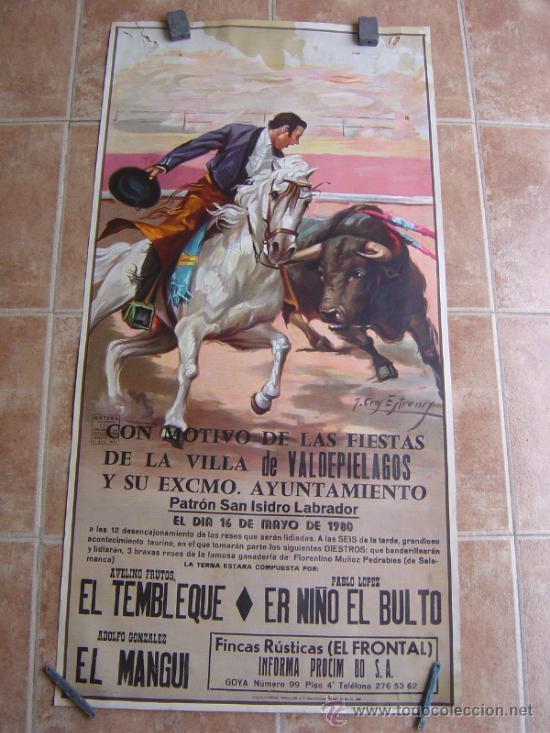 PLAZA DE TOROS DE LA VILLA DE VALDEPIELAGOS 1980 LITOGRAFIA - ILUSTRADOR: CROS ESTREMS (Coleccionismo - Carteles Gran Formato - Carteles Toros)