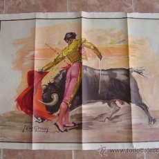 Carteles Toros: CARTEL DE TOROS APAISADO 1968 -SIN IMPRIMIR - LITOGRAFIA - ILUSTRADOR: CROS ESTREMS. Lote 37790962