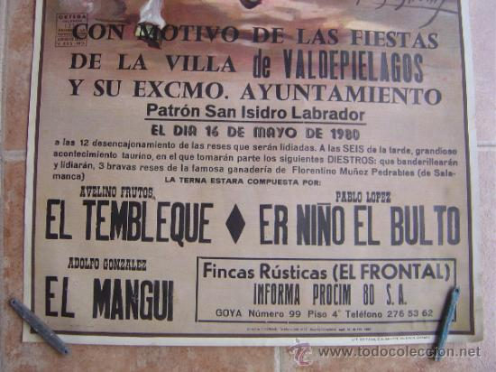 Carteles Toros: PLAZA DE TOROS DE LA VILLA DE VALDEPIELAGOS 1980 LITOGRAFIA - ILUSTRADOR: CROS ESTREMS - Foto 2 - 37790609