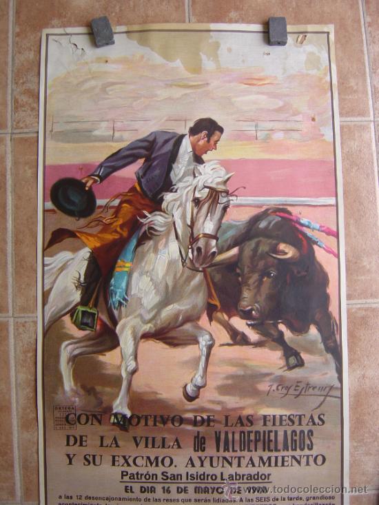 Carteles Toros: PLAZA DE TOROS DE LA VILLA DE VALDEPIELAGOS 1980 LITOGRAFIA - ILUSTRADOR: CROS ESTREMS - Foto 3 - 37790609