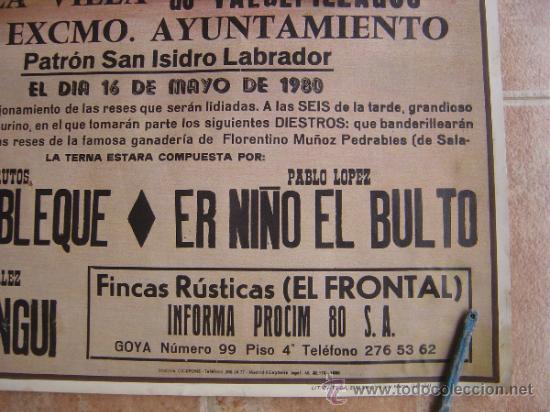Carteles Toros: PLAZA DE TOROS DE LA VILLA DE VALDEPIELAGOS 1980 LITOGRAFIA - ILUSTRADOR: CROS ESTREMS - Foto 6 - 37790609