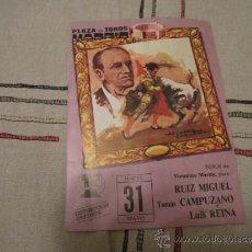 Carteles Toros: PROGRAMA DE MANO TAURINO. PLAZA DE TOROS MADRID. MARTES 31 DE MAYO.. Lote 37890709