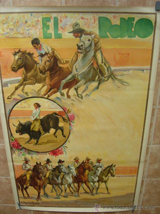 CARTEL DE GRAN FORMATO EL RODEO - SIN IMPRIMIR- LITOGRAFIA AÑOS 40 ILUSTRADOR RUANO LLOPIS (Coleccionismo - Carteles Gran Formato - Carteles Toros)