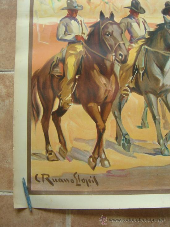 Carteles Toros: CARTEL DE GRAN FORMATO EL RODEO - SIN IMPRIMIR- LITOGRAFIA AÑOS 40 ILUSTRADOR RUANO LLOPIS - Foto 3 - 37913527
