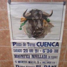 Carteles Toros: CARTEL DE TOROS GRAN FORMATO PLAZA DE CUENCA 1984 LITOGRAFIA -ILUSTRADOR : CROS ESTREMS. Lote 37927661