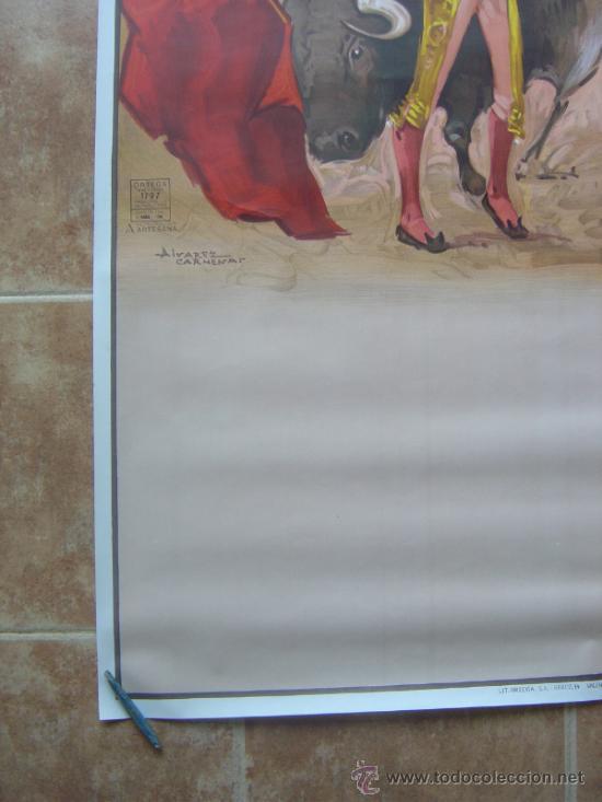 Carteles Toros: CARTEL DE TOROS SIN IMPRIMIR LITOGRAFIA ILUSTRADOR : ALVAREZ CARMENAS - Foto 5 - 38042166