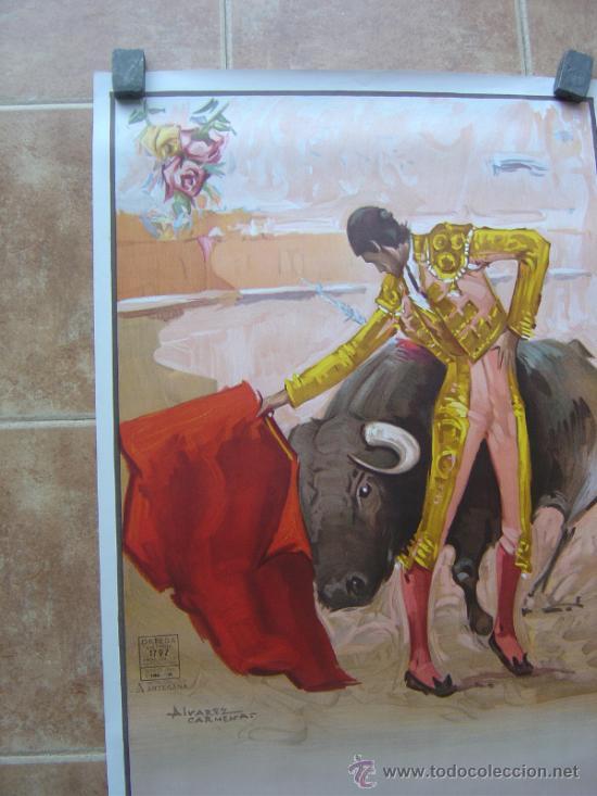 Carteles Toros: CARTEL DE TOROS SIN IMPRIMIR LITOGRAFIA ILUSTRADOR : ALVAREZ CARMENAS - Foto 3 - 38042166