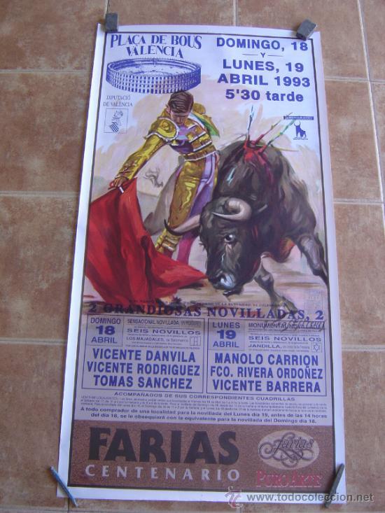 CARTEL DE TOROS PLAZA DE TOROS DE VALENCIA 1993 LITOGRAFIA-ILUSTRADOR: CROS ESTREMS (Coleccionismo - Carteles Gran Formato - Carteles Toros)