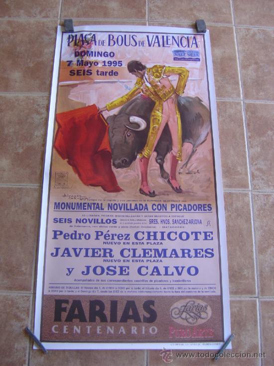 CARTEL DE TOROS PLAZA DE TOROS DE VALENCIA 1995 LITOGRAFIA-ILUSTRADOR: ALVAREZ CARMENAS (Coleccionismo - Carteles Gran Formato - Carteles Toros)
