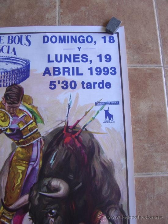 Carteles Toros: CARTEL DE TOROS PLAZA DE TOROS DE VALENCIA 1993 LITOGRAFIA-ILUSTRADOR: CROS ESTREMS - Foto 2 - 38082597