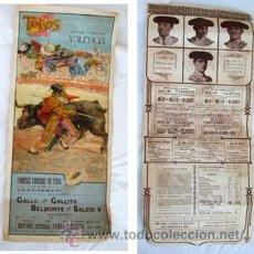 Carteles Toros: TOROS VALENCIA JULIO 1915. GALLO, GALLITO, BELMONTE, SALERI II. Lote 38296287