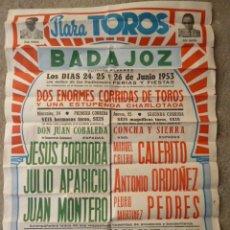 Carteles Toros: CARTEL TOROS BADAJOZ 1953 FERIAS Y FIESTAS DE BADAJOZ. Lote 38430925