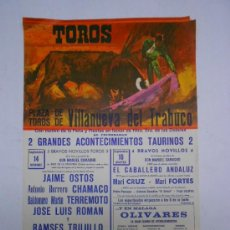 Carteles Toros: TOROS. CARTEL VILLANUEVA DEL TRABUCO ( MÁLAGA) JAIME OSTOS,CHAMACO,TERREMOTO,ROMAN.1975. 33X49 CMS. Lote 38992155
