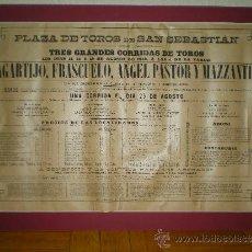 Carteles Toros: 1889 CARTEL DE TOROS DE SAN SEBASTIAN LAGARTIJO, FRASCUELO, ÁNGEL PASTOR Y MAZZANTII. Lote 55036989