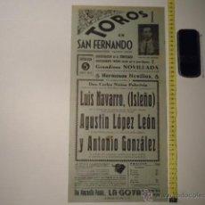 Carteles Toros: ANTIGUO CARTEL DE TOROS - ORIGINAL - TOROS EN SAN FERNANDO 1959 CADIZ ISLEÑO A.GONZALEZ REF TELE7. Lote 39318054