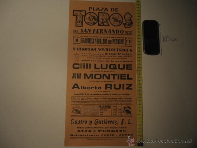 ANTIGUO CARTEL DE TOROS - ORIGINAL - TOROS SAN FERNANDO 1974 CADIZ CURRO LUQUE REF TELE7 (Coleccionismo - Carteles Gran Formato - Carteles Toros)