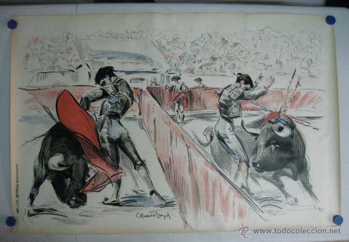 CARTEL TOROS - ILUSTRADOR: RUANO LLOPIS - PLAZA PARTIDA - SIN IMPRIMIR - LITOGRAFIA (Coleccionismo - Carteles Gran Formato - Carteles Toros)