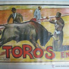 Carteles Toros: CARTEL TOROS - ILUSTRADOR: RUANO LLOPIS - CABECERA - SIN IMPRIMIR - LITOGRAFIA. Lote 54701358