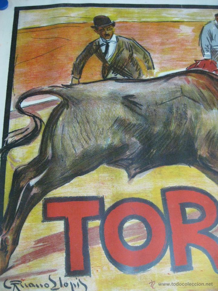 Carteles Toros: CARTEL TOROS - ILUSTRADOR: RUANO LLOPIS - CABECERA - SIN IMPRIMIR - LITOGRAFIA - Foto 2 - 54701358