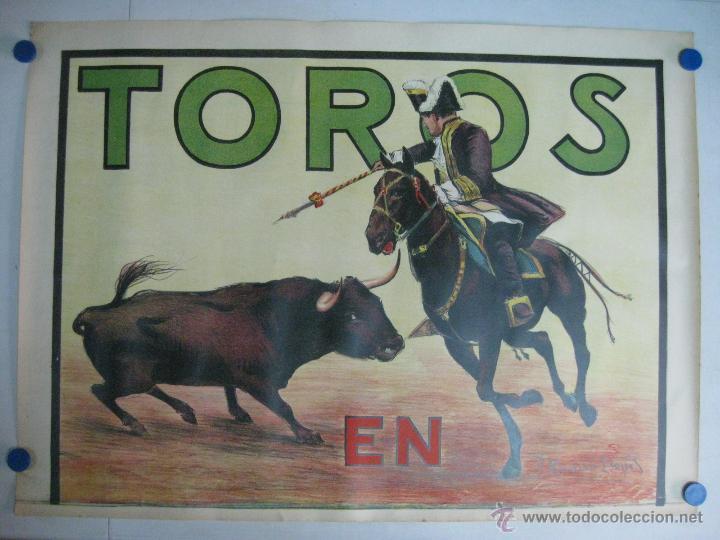 CARTEL TOROS - ILUSTRADOR: RUANO LLOPIS - CABECERA REJONEADOR PORTUGUES - SIN IMPRIMIR - LITOGRAFIA (Coleccionismo - Carteles Gran Formato - Carteles Toros)
