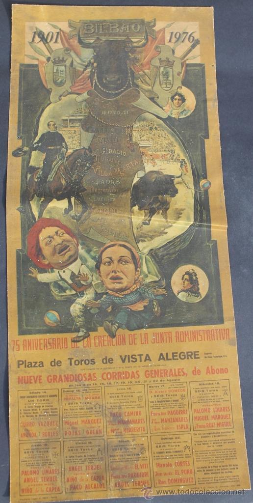 CARTEL 75 ANIVERSARIO FUNDACION JUNTA ADMINISTARTIVA PLAZA TOROS VISTA ALEGRE BILBAO 1976 - CORRIDAS (Coleccionismo - Carteles Gran Formato - Carteles Toros)