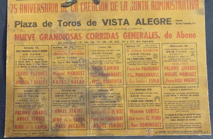 Carteles Toros: CARTEL 75 ANIVERSARIO FUNDACION JUNTA ADMINISTARTIVA PLAZA TOROS VISTA ALEGRE BILBAO 1976 - CORRIDAS - Foto 5 - 39903469