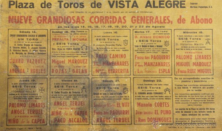 Carteles Toros: CARTEL 75 ANIVERSARIO FUNDACION JUNTA ADMINISTARTIVA PLAZA TOROS VISTA ALEGRE BILBAO 1976 - CORRIDAS - Foto 7 - 39903469