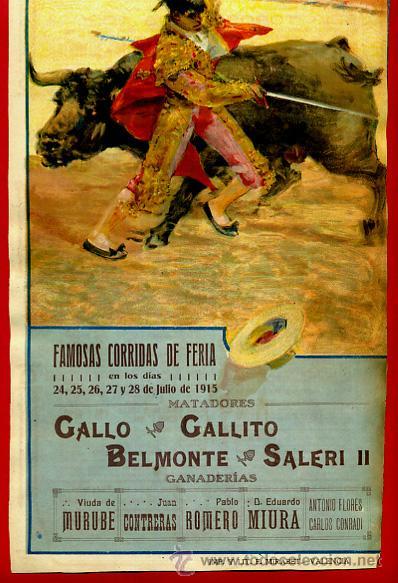 Carteles Toros: CARTEL TOROS, PLAZA DE VALENCIA , FERIA 1915, GALLO GALLITO BELMONTE, ORIGINAL RB - Foto 2 - 172217578