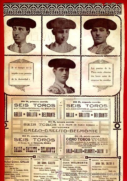 Carteles Toros: CARTEL TOROS, PLAZA DE VALENCIA , FERIA 1915, GALLO GALLITO BELMONTE, ORIGINAL RB - Foto 3 - 172217578