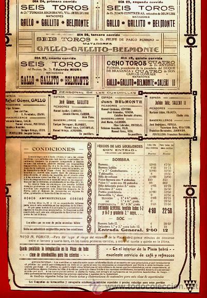 Carteles Toros: CARTEL TOROS, PLAZA DE VALENCIA , FERIA 1915, GALLO GALLITO BELMONTE, ORIGINAL RB - Foto 4 - 172217578