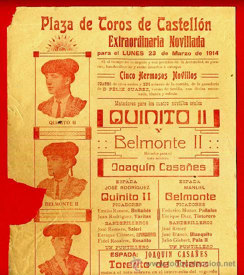 CARTEL TOROS, PLAZA DE CASTELLON , 1914, ORIGINAL R12 (Coleccionismo - Carteles Gran Formato - Carteles Toros)