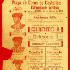 Carteles Toros: CARTEL TOROS, PLAZA DE CASTELLON , 1914, ORIGINAL R12. Lote 40278633