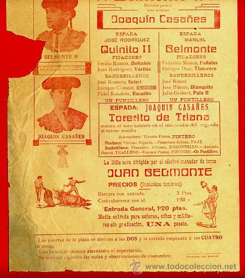 Carteles Toros: CARTEL TOROS, PLAZA DE CASTELLON , 1914, ORIGINAL R12 - Foto 2 - 40278633