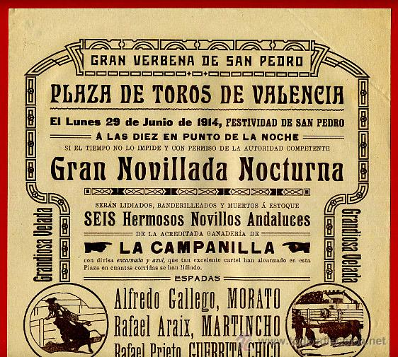 CARTEL TOROS, PLAZA DE VALENCIA , 1914 NOCTURNA , ORIGINAL R15 (Coleccionismo - Carteles Gran Formato - Carteles Toros)