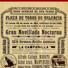 Carteles Toros: CARTEL TOROS, PLAZA DE VALENCIA , 1914 NOCTURNA , ORIGINAL R15. Lote 40457536