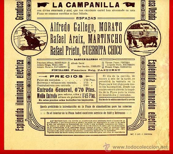 Carteles Toros: CARTEL TOROS, PLAZA DE VALENCIA , 1914 NOCTURNA , ORIGINAL R15 - Foto 2 - 40457536
