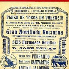 Carteles Toros: CARTEL TOROS, PLAZA DE VALENCIA , 1914 NOCTURNA , ORIGINAL R16. Lote 40278720