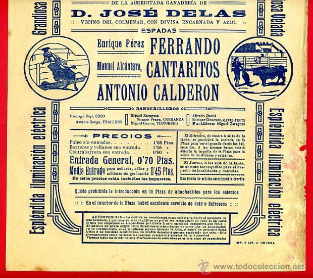 Carteles Toros: CARTEL TOROS, PLAZA DE VALENCIA , 1914 NOCTURNA , ORIGINAL R16 - Foto 2 - 40278720