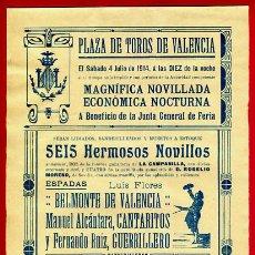 Carteles Toros: CARTEL TOROS, PLAZA DE VALENCIA , 1914 NOCTURNA , ORIGINAL R17. Lote 40278742
