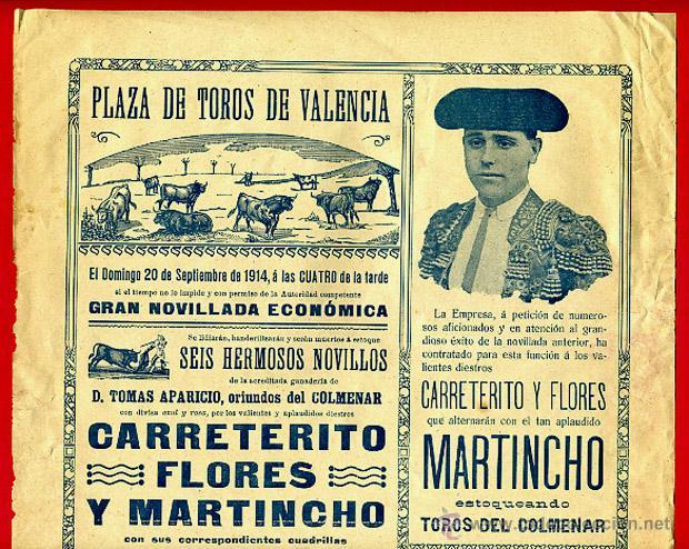 CARTEL TOROS, PLAZA DE VALENCIA , 1914 , ORIGINAL R24 (Coleccionismo - Carteles Gran Formato - Carteles Toros)