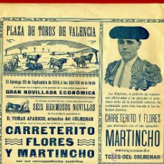 Carteles Toros: CARTEL TOROS, PLAZA DE VALENCIA , 1914 , ORIGINAL R24. Lote 40278872