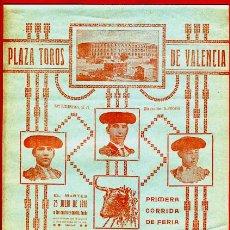 Carteles Toros: CARTEL TOROS, PLAZA VALENCIA , FERIA 1916 , ORIGINAL R35. Lote 40566171