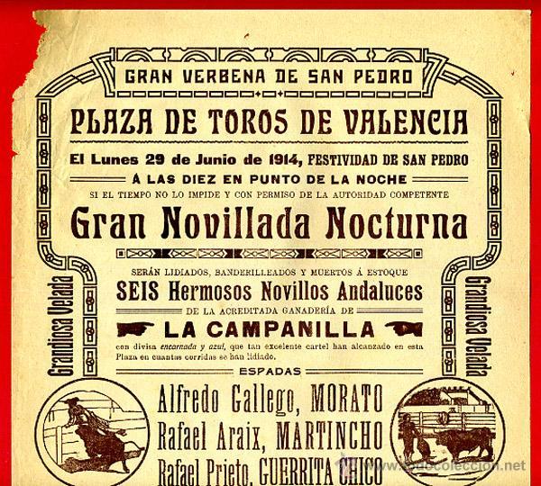 CARTEL TOROS, PLAZA DE VALENCIA , 1914 , ANTIGUO , ORIGINAL M20 (Coleccionismo - Carteles Gran Formato - Carteles Toros)