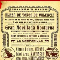 Carteles Toros: CARTEL TOROS, PLAZA DE VALENCIA , 1914 , ANTIGUO , ORIGINAL M20. Lote 40280130
