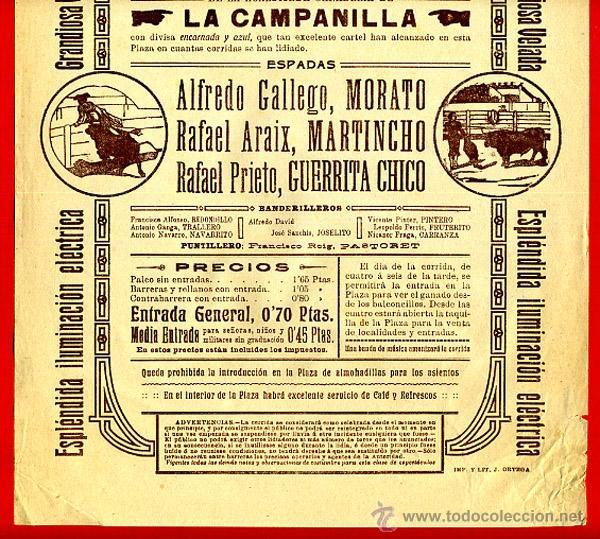 Carteles Toros: CARTEL TOROS, PLAZA DE VALENCIA , 1914 , ANTIGUO , ORIGINAL M20 - Foto 2 - 40280130