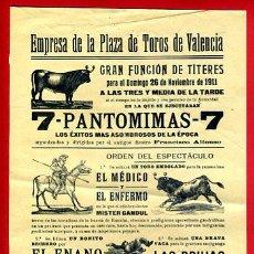 Carteles Toros: CARTEL TOROS, PLAZA DE VALENCIA , 1911 , ANTIGUO , ORIGINAL M29. Lote 40280326