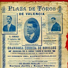 Carteles Toros: CARTEL TOROS, PLAZA DE VALENCIA , 1908 , ANTIGUO , ORIGINAL M43. Lote 40280954