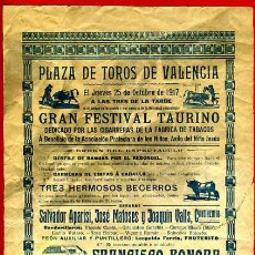 Carteles Toros: CARTEL TOROS, PLAZA DE VALENCIA , 1917 , ANTIGUO , ORIGINAL M45. Lote 40281007