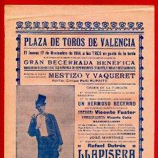 Carteles Toros: CARTEL TOROS, PLAZA DE VALENCIA 1914 , ANTIGUO , ORIGINAL M59. Lote 40293570