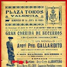 Carteles Toros: CARTEL TOROS, PLAZA DE VALENCIA 1917 FERIA , ANTIGUO , ORIGINAL M60. Lote 40293582